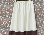 Slip Skirt Extender Ivory A-line Half Slip Petticoat with Brown Lace Made to Order Shabby Chic Off White Natural Cotton Bamboo Blend Mori