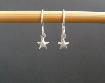 """super tiny star earrings. small sterling silver dangles. puffed puff star. little everyday jewelry. petite earrings simple gift for her 1/4"""""""