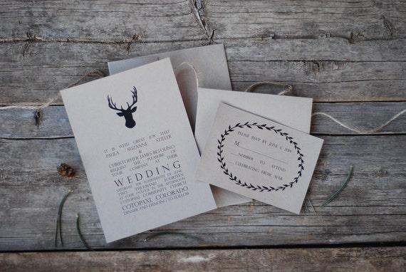 Deer Wedding Invitations: SPECIAL Antler Wedding Invitation Suite Deer Buck By