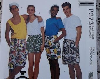 Unisex Shorts Pattern Size XLARGE Mccalls P373 Misses,Mens,Teen Boys Shorts 60 minute pattern