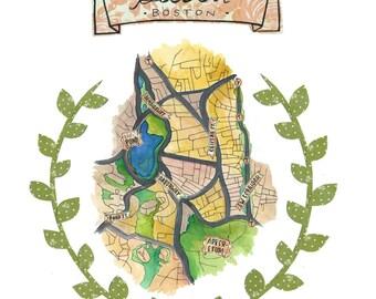 Jamaica Plain Boston Neighborhood Map Print