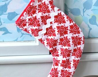 Mini Stocking - Red and White Damask