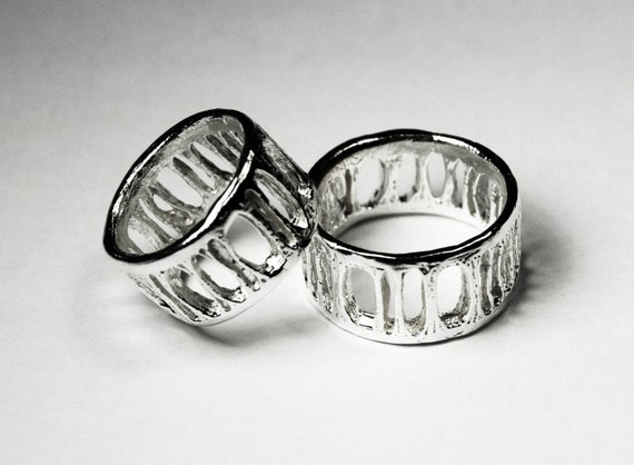 Silver Shark Vertebra Ring - Extra Wide Ladder