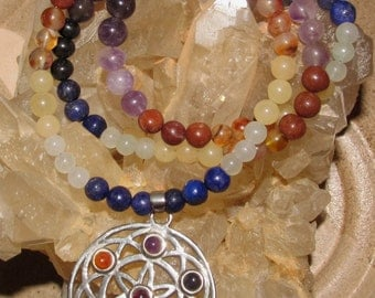 Beautiful Sacred Geometry Seed of Life Chakra Necklace