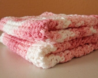 Crochet Washcloths - Pink & White Strawberry Scrubbie Cloth, Eco Friendly Cleaning Cloth, Handmade Washcloth, SET OF 2 - 100% Cotton Yarn