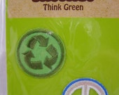 think green recycle and peace iron-on applique patches, small, set of 2