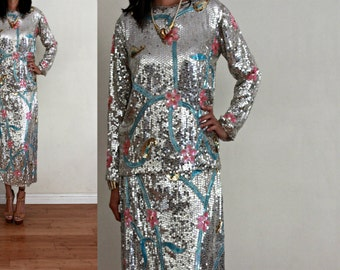 Vtg NWT INDIA Silk Silver Deco Floral Paisley Sequin Beaded Two Piece Skirt Top Glam Cocktail Set M/L