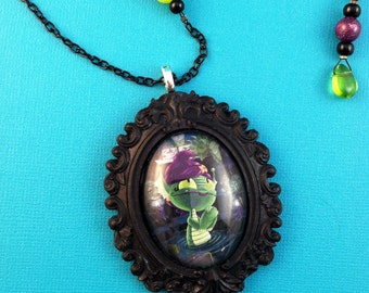He's So Dreamy - Beaded Lagoon Girl Cabochon Necklace in Onyx