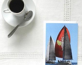 Sailboat Notecard, Blank Greeting Card, Colorful Note Card, Sailboat Card, Thank You Card, Red Yellow Blue Stationery, Nautical Hostess Gift