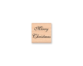 MERRY CHRISTMAS Rubber Stamp~Tiny Tag Size~DIY Holiday Card and Tag Crafting~wood mounted rubber stamp (28-21)