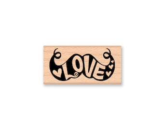 LOVE MUSTACHE- wood mounted rubber stamp-#41-03