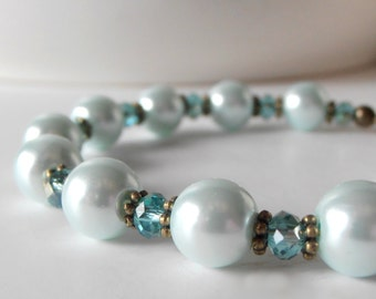 Bridesmaid Jewelry, Ice Blue Pearl and Crystal Bracelet in Antiqued Bronze or Silver