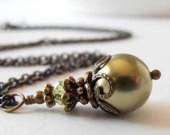 Olive Pearl Necklace, Green Swarovski Elements Antiqued Bridesmaids Jewelry, Beaded Pendant, Rustic Woodland Wedding Jewellery, Handmade