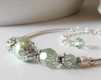 Mint Pearl Bracelet, Crystal and Pearl Bridesmaid Jewelry, Swarovski Crystallized Elements, Mint Wedding Jewelry Sets, Bridesmaid Gift Idea