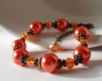 Orange Jewelry Pearl and Crystal Beaded Bracelet Fall Fashion Orange Bridesmaid Gift Idea Pearl Bracelet Rustic Weddings Antiqued Bronze