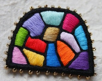 """Textile Brooch """"Colour Therapy - Hundertwasser mosaic"""", Color therapy collection, hand embroidery unique jewellery"""