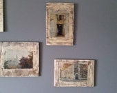 Set of 3 architectural phots printed on distressed wood