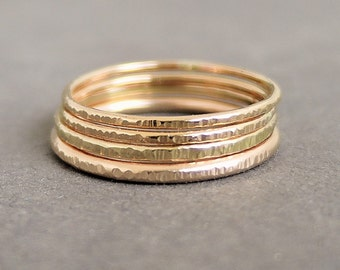 Gold or Rose Gold Rings 4 textured stackable ring choose your size