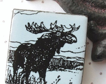 Moose Brooch.  Pale Sky Blue Glaze on Black Porcelain Square.  Light Faded Denim.  Alice Blue.  Lakeside.  Up North. Rustic Scene. Woodland