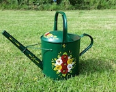 Vintage Watering Can Decorated Canal Ware Art Style, Roses & Daisies Hand Painted on Green, English Folk Art Garden, Tole Ware, Barge Ware