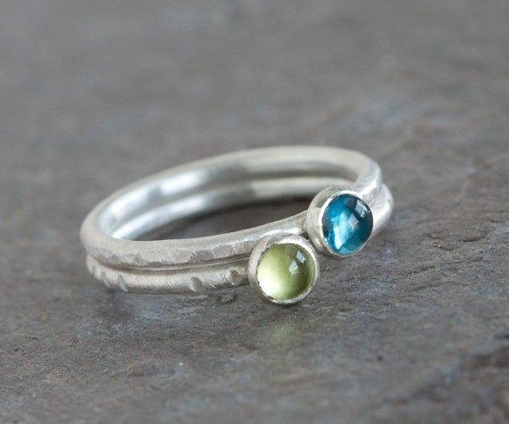 Little Joy - Cute Green Peridot and Sterling Silver Ring Brushed Matte Textured