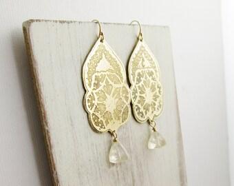 Lace Leaf Earrings. 14K Gold Filled. Brass. Long Dangles. Rustic. Ancient Design.  Boho Bride. Quartz Stone.