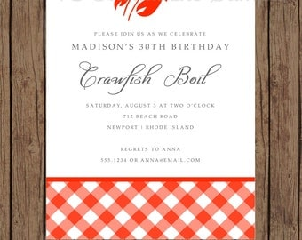 Custom Printed Crawfish Boil Invitations - 1.00 each with envelope