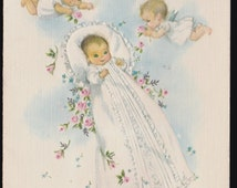 vintage Christening new  BABY greeting Card - Marjorie Cooper Old stock, unused- Sangamon, Your Bundle of Love has Arrived ...