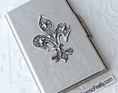 Fleur De Lis Business Card Case Gothic Victorian Steampunk Card Case Silver Plated Metal Card Case New Handcrafted By Cosmic Firefly