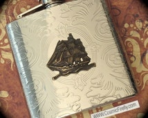 Pirate Flask Steampunk Flask Pirate Ship Flask Pocket Flask Hip Flask Silver Flask Men's Gifts Men's Steampunk Gifts Big Flask Men's Flask