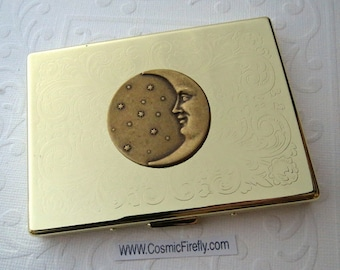 Celestial Moon Cigarette Case Gothic Victorian Astronomical Steampunk Case Shiny Gold Case Business Card Holder