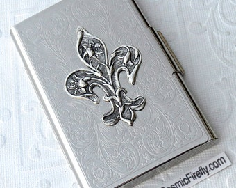 Fleur Dei Lis Business Card Case Gothic Victorian Steampunk Card Case Silver Plated Metal Card Case New Handcrafted By Cosmic Firefly