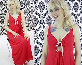 70s Sexy Red Keyhole Nightgown Nightie Vintage 1970s Slip Red White Trim Nylon Retro Disco Vassarette Valentine's Day Small S Medium M