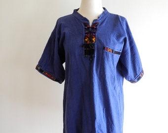 Natural Fiber textured cotton ethnic print shirt UNISEX sz. Medium / Large