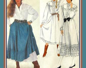 Vintage 1980s -Ralph Lauren- PRAIRIE STYLE - Vogue Designer Sewing Pattern-Gathered Ruffle Skirt-Ruffle Blouse-Dress-Size 8-Rare-Collectible