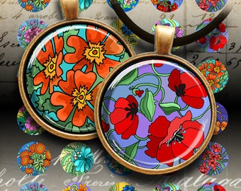 1 inch (25mm) and 1.5 inch FLOWER GARDEN Circle Images Digital Collage Sheet Printable Download for pendants bottlecaps magnets bezel trays