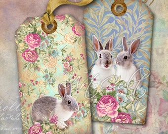 Printable Download SWEET LITTLE BUNNIES Easter Gift Tags Digital Collage Sheet shabby chic Greeting Cards Art Cult digital paper goods