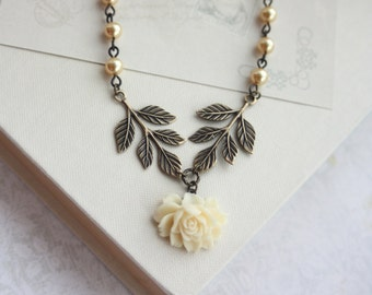 Small Ivory Rose Flower, Gold or Ivory Pearl, Brass Leaf Necklace. Maid of Honor. Gold Bridal Wedding Jewelry Bridesmaid Gift, Vintage Style
