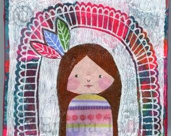 Art for kids room- girls room decor- original painting- original art
