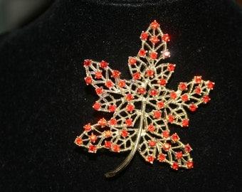Orange Leaf Brooch