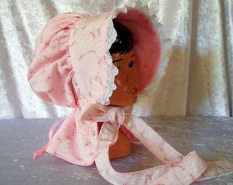 child's prairie bonnet - completely reversable - pioneer- adjustable too