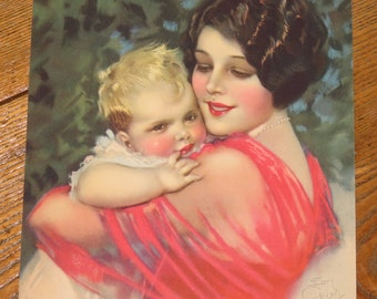 1930's antique lithograph print Earl Christy 3193 Mother and Child Baby fine art print calendar piece
