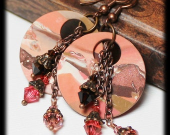 Tahitian Sunrise... Handmade Beaded Jewelry Earrings Polymer Clay Marbled Peach Pink Terra Cotta Brown Antique Copper Crystal Lightweight