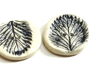 Rustic black buttons,buttons of leaves,woodland buttons,set of 2 buttons,knitting supply,black white buttons,pottery buttons,stamped button,