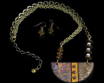 Tribal Necklace Set, Bib Statement Necklace, Tribal Art Jewelry, Brass & Clay Jewelry, Rustic Jewelry, Unique Earthy Jewelry, Gift for Women