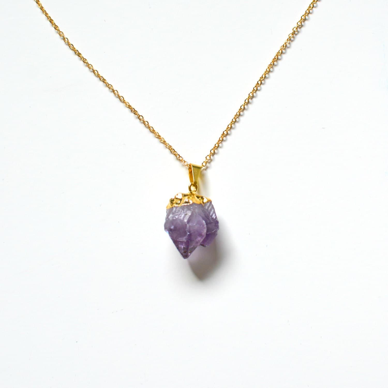 amethyst necklace amethyst point pendant amethyst 24k