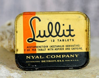 NOT INDICATED for CHILDREN...  Antique Lullit Tablets metal tin can by Nyal Company... home decor... industrial style... Laf Bag 2