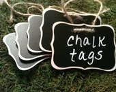 6 Fancy Wood Chalkboard Tags - Basket Labels, Wedding Chalkboard Tags, FEATURED in Better Homes and Garden Magazine, January