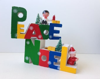 Peace and Noel Wooden Christmas Candle Holders, Set of Two