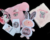 Personalized Woodland Creatures Baby Girl Gift Set with Plush Bunny / Bodysuit, Cap with Flower, Blanket, 2 Burpcloths and Bib